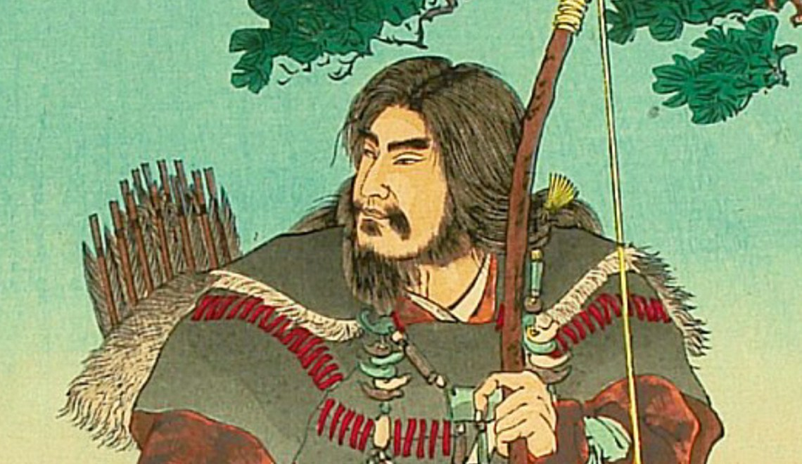 "Detail of Emperor Jinmu - Stories from ""Nihonki"" (Chronicles of Japan), by Ginko Adachi. Woodblock print depicting legendary emperor Jimmu, who saw a sacred bird flying away while he was in the expedition of the eastern section of Japan. Wikipedia"